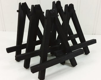 BLACK Wood Mini Easels, 5 Small Black Tabletop Easels for Miniature Art Tiles, Place Card Holder, Wedding Display