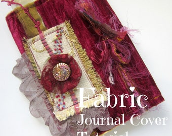 Fabric Journal Cover Tutorial - Craft Tutorial - PDF - Book Slip Cover Pattern