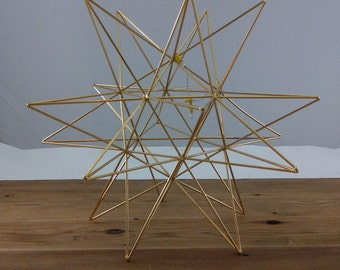 Vintage Himmeli Figure / Brass Star/ Geometric / Modern Minamalist/ Air Plant Container