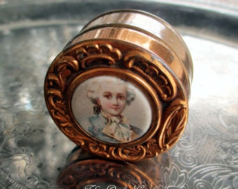 vintage trinket box with 18th century man portrait lithograph count ferson repousee pill jewelry container