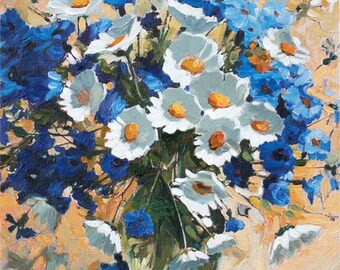 Chamomile Bouquet of Flowers Hand Painted Fine Art Miniature Oil Painting 8x10