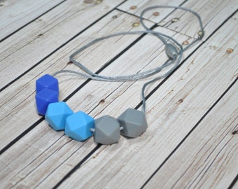 Silicone Teething Necklace - Teething Necklace Silicone - Nursing Necklace - Blue Grey - BPA Free Food Grade Materials
