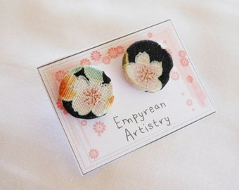 Cherry Blossom Stud Earrings - Wood & Fabric Earrings - Japanese Inspired Jewelry - Japanese Fabric - Asian Jewelry - Asian Earrings