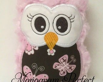 Ready to Ship---Light Pink Plush Mini Owl Rattle -NOT PERSONALIZED