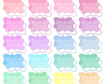 Digital Clipart Frames-Pretty Pastels-Frames-Text Boxes-Baby-Borders-Invitations-Digital Frames-Scrapbook Elements-Instant Download Clip Art