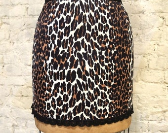 60s Leopard Print Half Slip