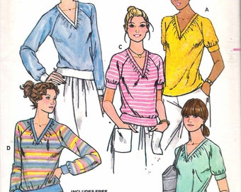 """Vintage 1980's Butterick 6106 Misses T- Shirts Sewing Pattern Size 14 Bust 36"""""""