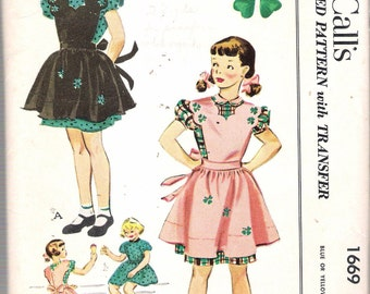 """Vintage 1951 McCall's 1669 Girl's Dress & Pinafore Sewing Pattern with Transfers Size 8 Breast 26"""""""