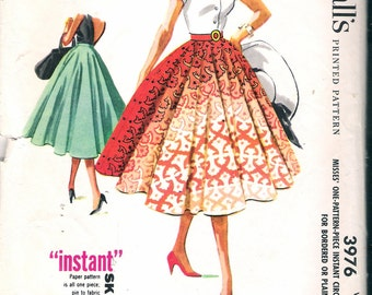 "Vintage 1956 McCall's 3976 Circle Skirt Sewing Pattern Size Waist 26"" UNCUT"