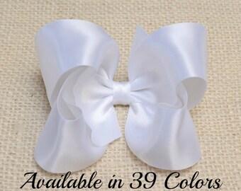 Girls Hair Bows, White Hair Bow, Satin Bow, 4 inch Hair Bow, Toddler Hair Bows, Baby Bows, Hair Bows for Girls, Hair Bows for Toddlers, 904