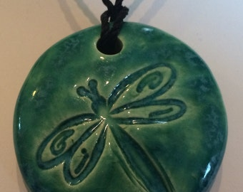DRAGONFLY - Pendant / Necklace - Ceramic - AQUAMARINE Art Glaze - Inspirational Art Piece