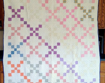 "Antique Quilt, Multicolor Irish Chain Quilt, Handstitched Quilt, Single Irish Chain, 77"" x 64"" Quilt, Vintage Quilt with Feed Sack Squares"