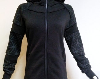 40% Off SALE! Womens Flower of Life Long Black and Grey Hoodie with Thumbholes!