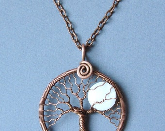 """Necklace Full Moon copper tree-of-life pendant White moon pendant Gift for her wedding Copper anniversary gift for wife Diameter 1.7"""" MW15"""