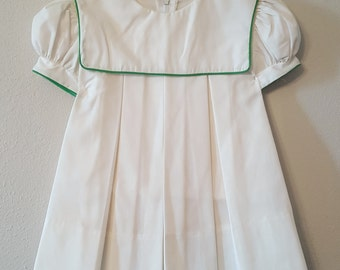 Vintage Girls White Dress with Green Trimmed Collar- Sizes 2t-  New, never worn