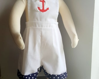 Vintage Boys Sailor Overall with Anchor and Stars- Size 12 months- New, never worn