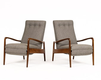 Danish Modern / Mid Century Reclining Lounge Chairs — Mahogany Frames w/ Grey Textile — Pair