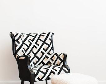 Refurbished Upholstered Faux Fur Midcentury Modern Foot Stool