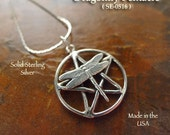 Sterling Silver Dragonfly Pentacle Necklace, .925 Sterling Dragonfly Pentagram Pendant Necklace, Pagan Dragonfly Jewelry - SE-0516