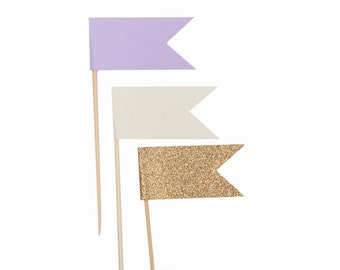 Lavender Ivory Gold Cupcake Flags / Lilac Cupcake Topper Flags / Pastel Purple Cupcake Topper Flags / Gold Glitter Cupcake Topper Flags