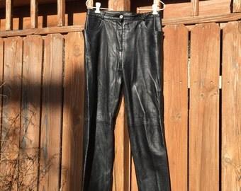 Naf Naf French Soft Black Leather Jean Cut Pants 90s Rocker Biker Pants