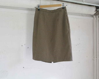 Vintage 90 beige and black small squares skirt