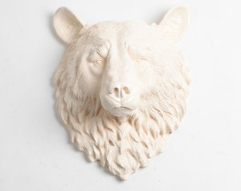 White Faux Taxidermy - Faux Taxidermy - The Anda - Antique White Resin Bear Head- Resin Antique White Faux Taxidermy- Chic & Trendy