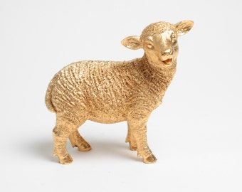 SALE - Shaun the Sheep in Gold, Lamb Figurine , Large Table Top Lamb Nursery, Sheep Nursery Animal Statue, Kids Room Decorations & Sheep Art