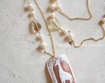 AFRICA Necklace-Vermeil necklace with authentic Sardonyx shell cameo, faceted lemon quartz, freshwater pearls and baroque pearls