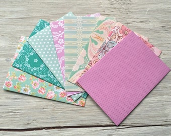 Note Card Set - Handmade Envelopes with note cards set of 8 vintage inspired patterns