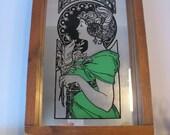 Vintage Art Nouveau Mirror - 70s Art Nouveau Wood Framed Mirror