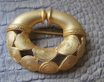Colima Culture Pre-Columbian Replica 24K Gold Plate Brooch Pin. Made in Columbia, South America.