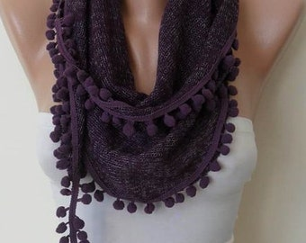 Gift for Her Christmas Gift Knit Fabric Dark Purple Scarf Shawl Cowl with Pom Pom Holiday Gift