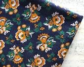 Vintage corduroy fabric 2.9 yards navy blue teal mustard yellow floral boho bohemian gypsy