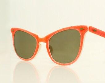 Glitter Cat Eye Sunglasses, Salmon Orange Cateyes, 1950s Vintage Coral Rockabilly Catseye Glasses, MINT Cateye Sunglasses