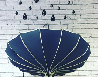 Navy ribbed Pagoda Style Umbrella, Navy umbrella, navy blue umbrella, pagoda umbrella, timeless fashion, navy blue wedding,navy blue parasol