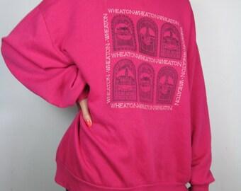 90s Pink Wheaton Illinois Slacker Soft Vintage Victorian House Sweater Top