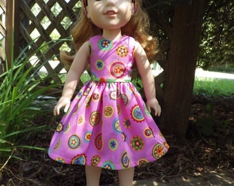 Love Buttons Dress for 14.5 inch Wellie Wishers Dolls