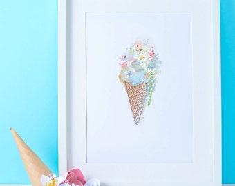 Ice cream sundae A4 art print