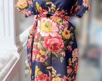 Navy Maternity Kimono Labor and Delivery Robe Shoulder Snaps Breastfeeding Maternity Delivery Gown Perfect for Skin to Skin Breastfeeding