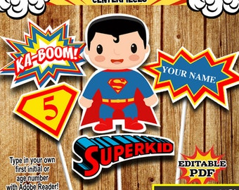Superhero Centerpieces , Superman Centerpieces, Party Signs Instant Donwload, Party Printable, Photo Props RP-53