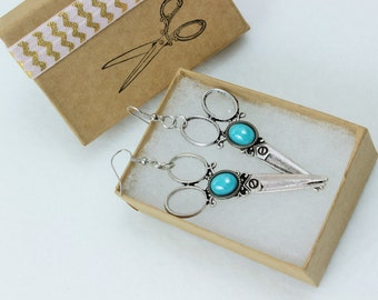 Turquoise Blue Dragon Tear Silver Hair Stylist Gift Scissor Charm Earrings