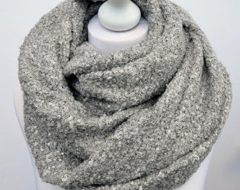 Grey and silver blanket scarf, boucle knit, shawl, cowl scarf, infinity scarf, women's scarf, oversized scarf, sequin scarf, christmas gift
