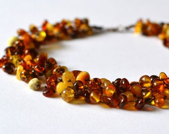 Organic Amber Necklace Multicolor Linen Necklace Modern Multistrand Necklace Sun Summer Fashion