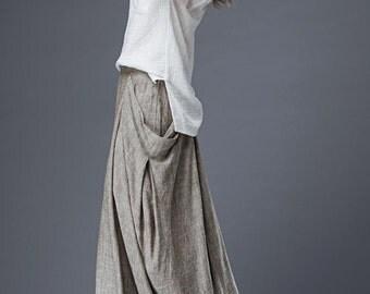 Linen skirt, skirts, womens skirt, maxi skirt, long skirt, skirt with pockets, skirt women, Irregular skirt C871