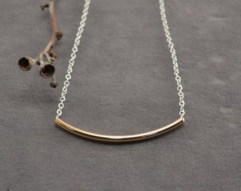 Gold and Silver Necklace, Mixed Metal Necklace, Sterling Silver and Gold Filled Jewelry, Gold Bar Necklace, Geometric Necklace