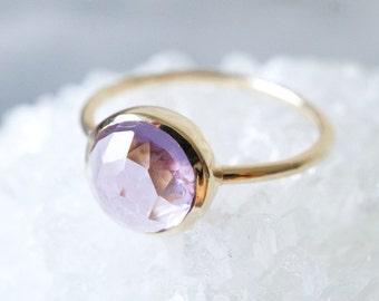 10K Solid Yellow Gold Amethyst medium purple bezel setting ring- FREE Shipping- made to order- 3 weeks- modern minimalist jewelry