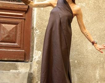 XXL,XXXL New Maxi Brown Dress / Kaftan Linen Dress / One Shoulder Dress / Extravagant Long  Dress / Party Dress  by AAKASHA A03144