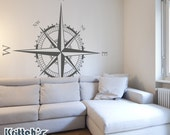 Compass Rose Vinyl Wall Decal (simply swap East and West coordinates for ceiling install) many sizes to pick from K594