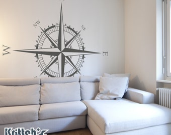 Compass Rose Vinyl Wall (or ceiling) Decal K594
